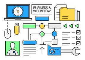 Free Business Linear e Elementos de fluxo de trabalho vetor