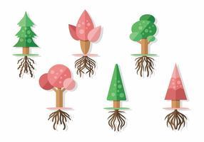Árvore Com Set Raízes Vector