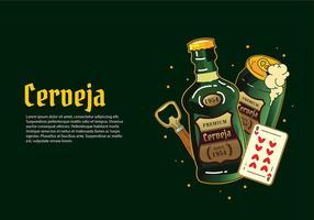 Cerveja garrafa verde Vector grátis