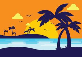 Sunset Beach Com Palma Silhueta vetor