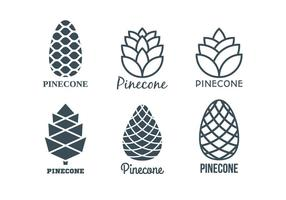 Coleção Template Logo Pine Cones plana vetor