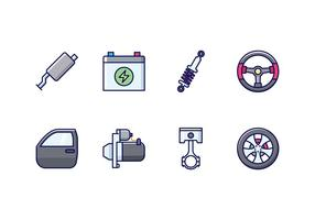 Conjunto de ícones de peças de automóvel vetor