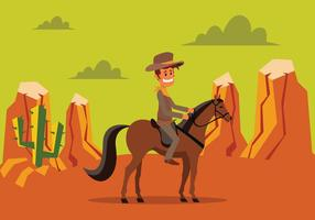 Vaqueiro que monta um cavalo