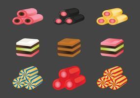 Ícones do vetor dos doces do alcaçuz
