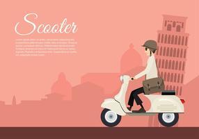 Scooter Itália dos desenhos animados Vector grátis