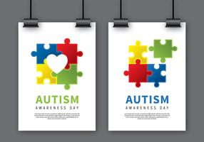 Mock Poster consciência do autismo Up vetor