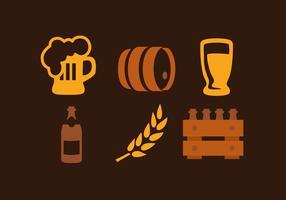 Cerveja Elemento Icons Collection Vectors