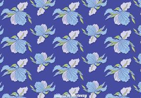 Vector Pattern Blue Iris Flowers Seamless