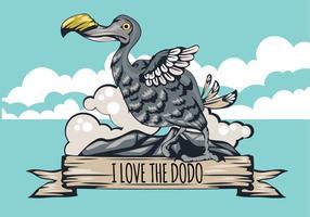 Eu amo a ilustração do pássaro do Dodo com fita vetor