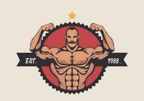 Homem muscular que dobra o bíceps Ilustração