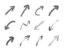Coleção desenhada mão das setas vetor