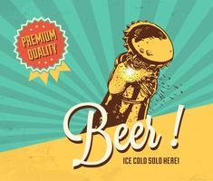 Poster retro do vetor da cerveja fria
