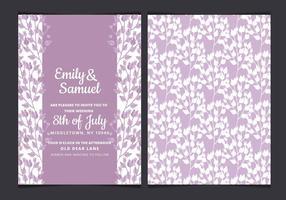Convite do casamento da aguarela do vetor com ramos roxos