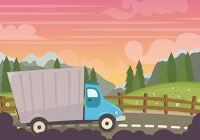 Camion no por do sol vetor