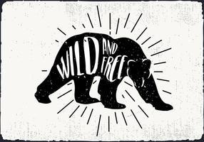 Ilustração vetorial livre urso silhueta com tipografia vetor