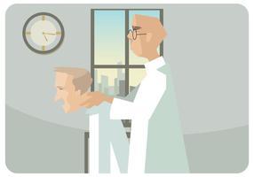 Fisioterapeuta, dar, pescoço, massagem, vetorial vetor