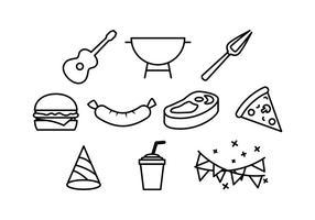 Churrasco, bloco, Partido, linha, ícone, elemento, vetores