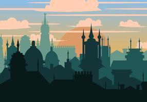 Cidade de Praga na silhueta vetor