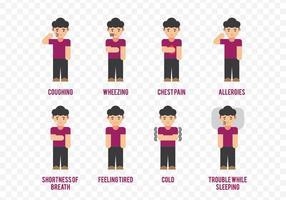 Asma Sintomas Personagem de banda desenhada vetor