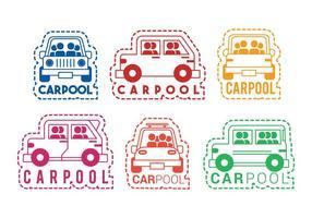 Carpool, vetorial, ícone, etiqueta, jogo vetor