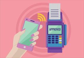 Pagamento em um comércio com sistema NFC com telefone celular vetor