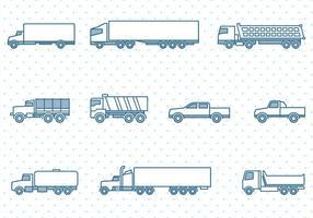 Caminhões, ícones, jogo vetor