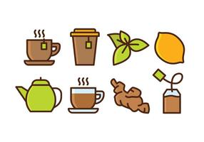 Jogo do ícone do chá de ervas vetor