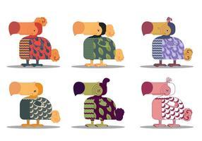 Caráter Dodo dos desenhos animados animal Pássaro Vector Set