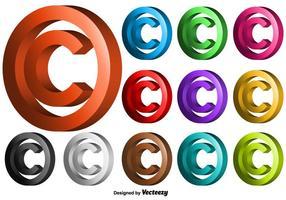 Vector 3D símbolo de copyright Set