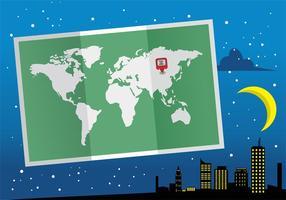 Dobrado projeto World Map Mapa Mundi Vector