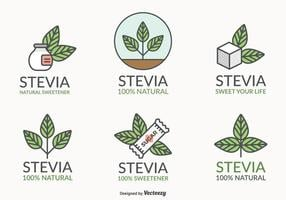 Folha de Stevia Sweetener Natural Vector Logo Set