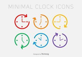 Ícones do relógio da linha do vetor