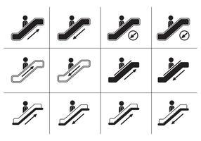 Ícones de escada rolante vetor