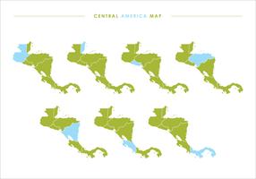Verde América Central Mapa Ilustrações