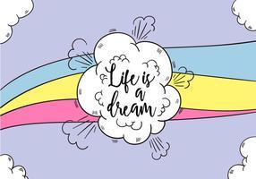 Nuvens e arco-íris com citações inspiradores sobre a vida vetor