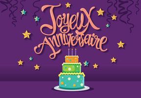 Feliz Aniversário em Francês Joyeux Anniversaire com Bolo de Tarte vetor