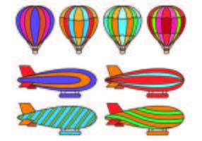 Conjunto De Vetores De Balão De Ar Quente