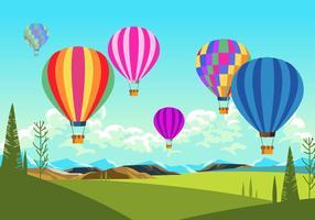 Colorido, ar, balões, cena, vetorial vetor