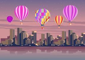 Balões de ar quente sobre a cena do vetor da cidade
