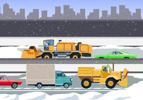 Neve, ventiladores, limpeza, cidade, estradas, vetorial vetor