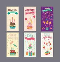 Aniversário ou Joyeux Anniversaire Vetores do cartão do cumprimento e do convite