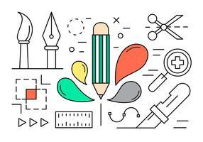 Elementos Lineares de Desenho Gráfico vetor