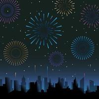 fogos de artifício no céu noturno vetor