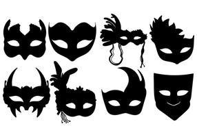 Masquerade, bola, silueta, máscaras, vetorial