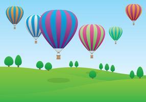 Balões de ar quente que voam sobre o campo vetor