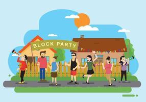 Festa de bloco livre na frente da ilustração residencial vetor