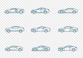 Carros, ícones, jogo vetor