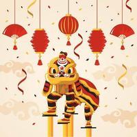 dança do leão chinês do ano novo
