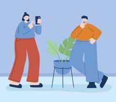 mulher e homem com smartphone vetor