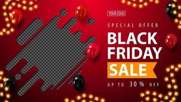 venda de sexta-feira negra, banner horizontal de desconto